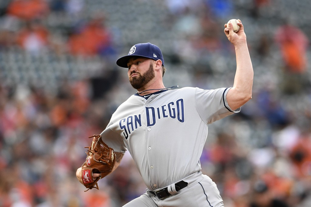 San Diego Padres starting pitcher Logan Allen delivers a pitch during the first inning of a baseball game against the Baltimore Orioles, Tuesday, June...