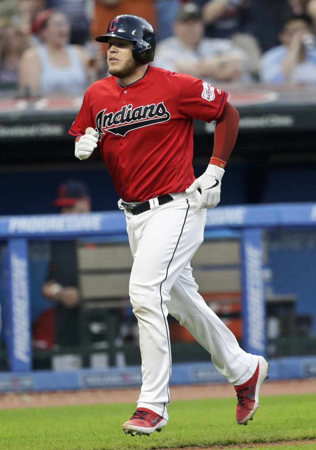 Cleveland Indians' Roberto Perez runs the bases after hitting a solo home run in the fifth inning in a baseball game against the Kansas City Royals, T...