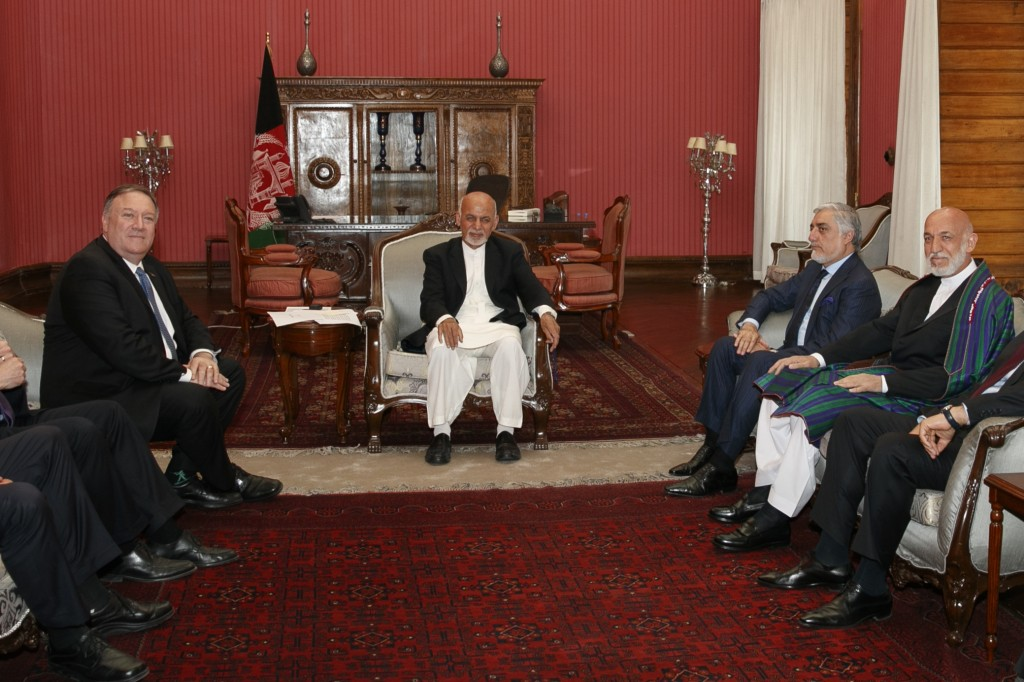 Secretary of State Mike Pompeo, left, meets with Afghan President Ashraf Ghani, Afghan Chief Executive Officer Abdullah Abdullah, and former Afghan Pr...