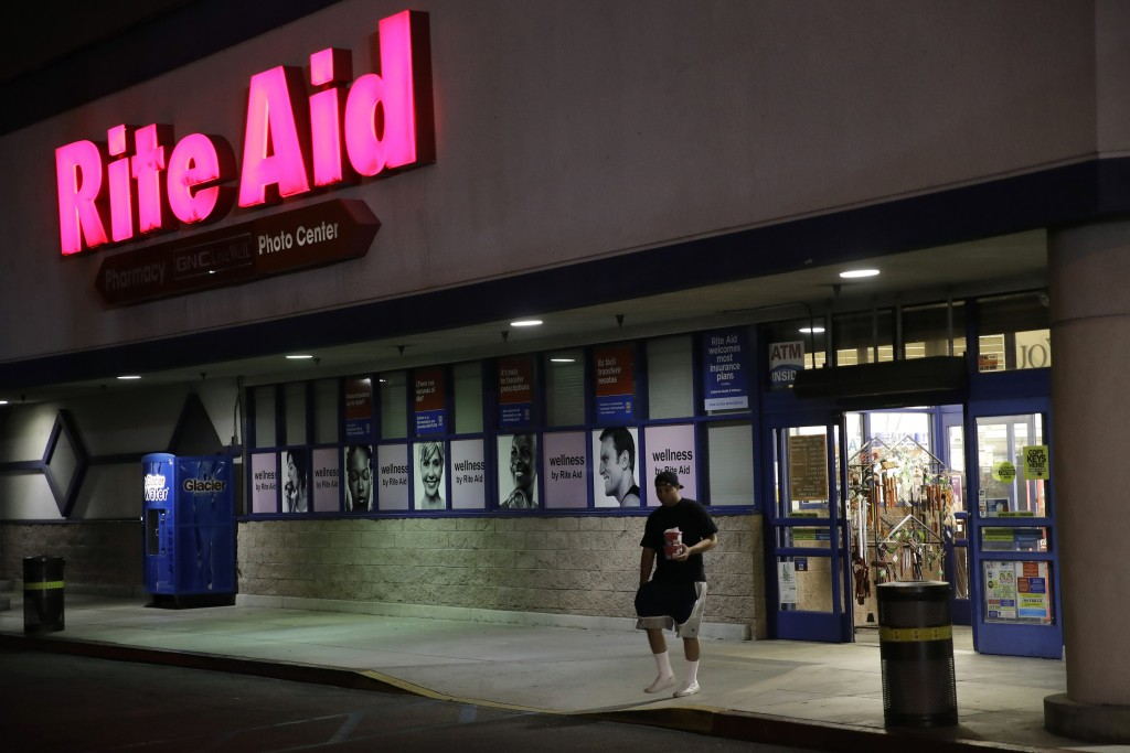 This Monday, June 24, 2019, photo hows an exterior view of a Rite Aid store in Los Angeles. Rite Aid reports financial results Wednesday, June 26. (AP...