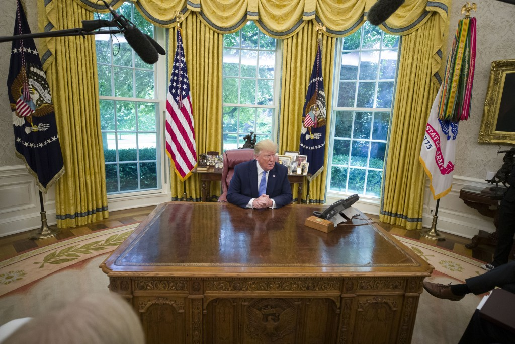 President Donald Trump speaks as he receives an an update on Fentanyl and the opioid epidemic, in the Oval Office of the White House in Washington, Tu...