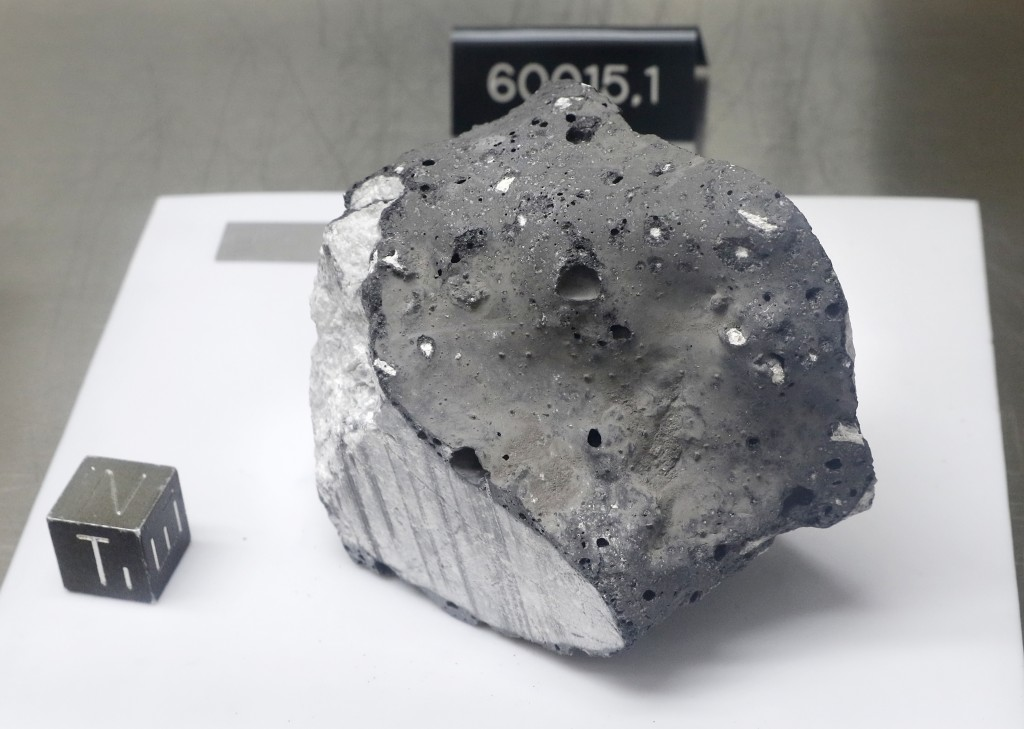 Collected during Apollo 16, an anorthosite sample believed to be the oldest rock collected during the moon missions is displayed in the lunar lab at t...