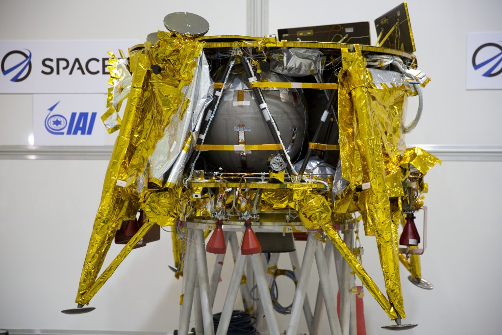 "FILE - This Dec. 17, 2018 file photo shows the SpaceIL lunar module in a special ""clean room"" during a press tour of their facility near Tel Aviv, Isr..."