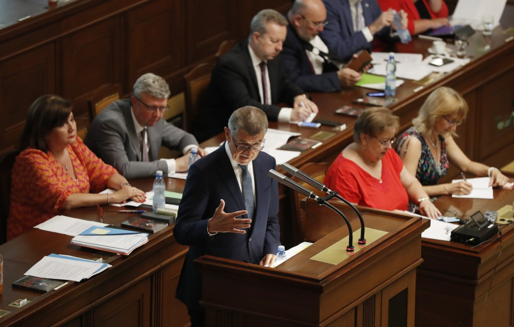 Czech Republic's Prime Minister Andrej Babis addresses lawmakers during a parliament session in Prague, Czech Republic, Wednesday, June 26, 2019. The ...