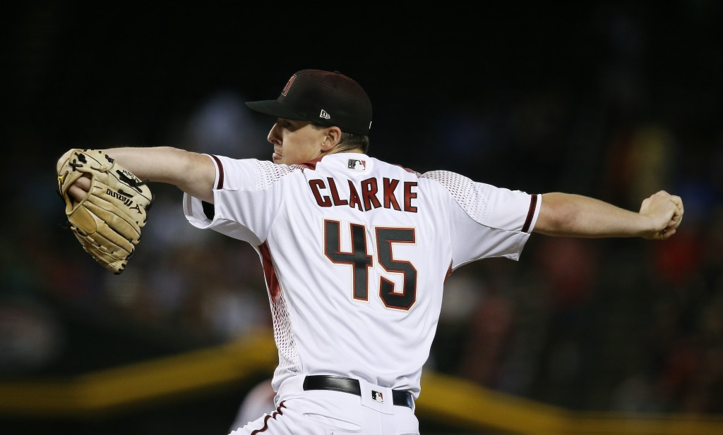 Arizona Diamondbacks starting pitcher Taylor Clarke throws against the Los Angeles Dodgers during the first inning of a baseball game Wednesday, June ...