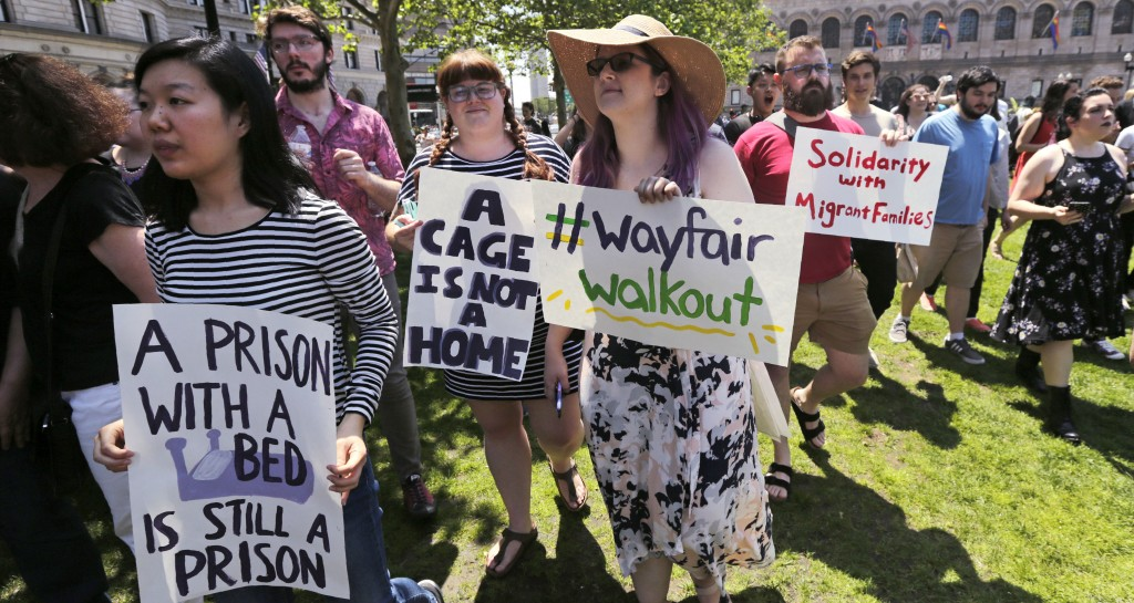 Employees of Wayfair march to Copley Square in protest prior to their rally in Boston, Wednesday, June 26, 2019. Employees at online home furnishings ...