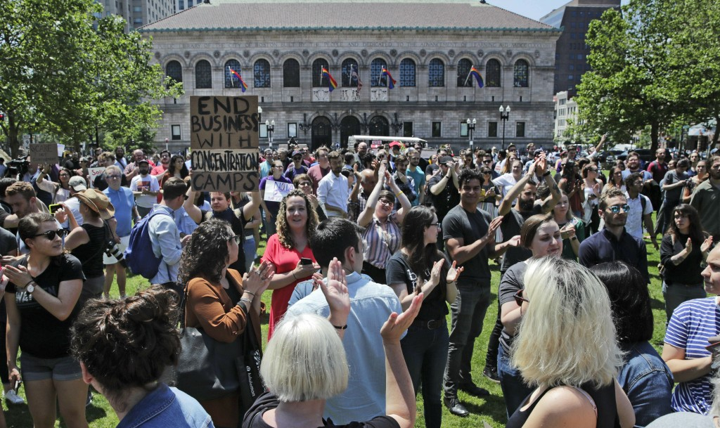 Wayfair employees and supporters rally at Copley Square in Boston, Wednesday, June 26, 2019. Employees at online home furnishings retailer Wayfair wal...
