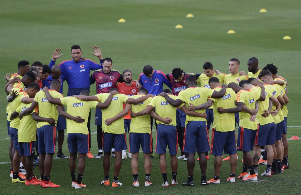 Colombia's players gather during a training session in Sao Paulo, Brazil, Wednesday, June 26, 2019. Colombia will face Chile on June 28 in the quarter...