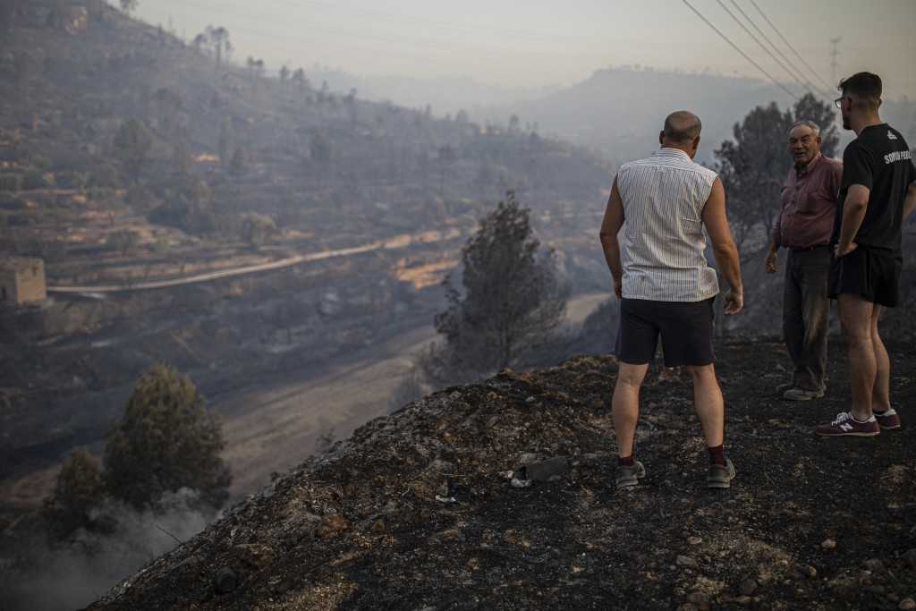 Local villagers overlooked a burned landscape after a wildfire in Torre de l'Espanyol, near Tarragona, Spain, Thursday, June 27, 2019.  The Catalonia ...