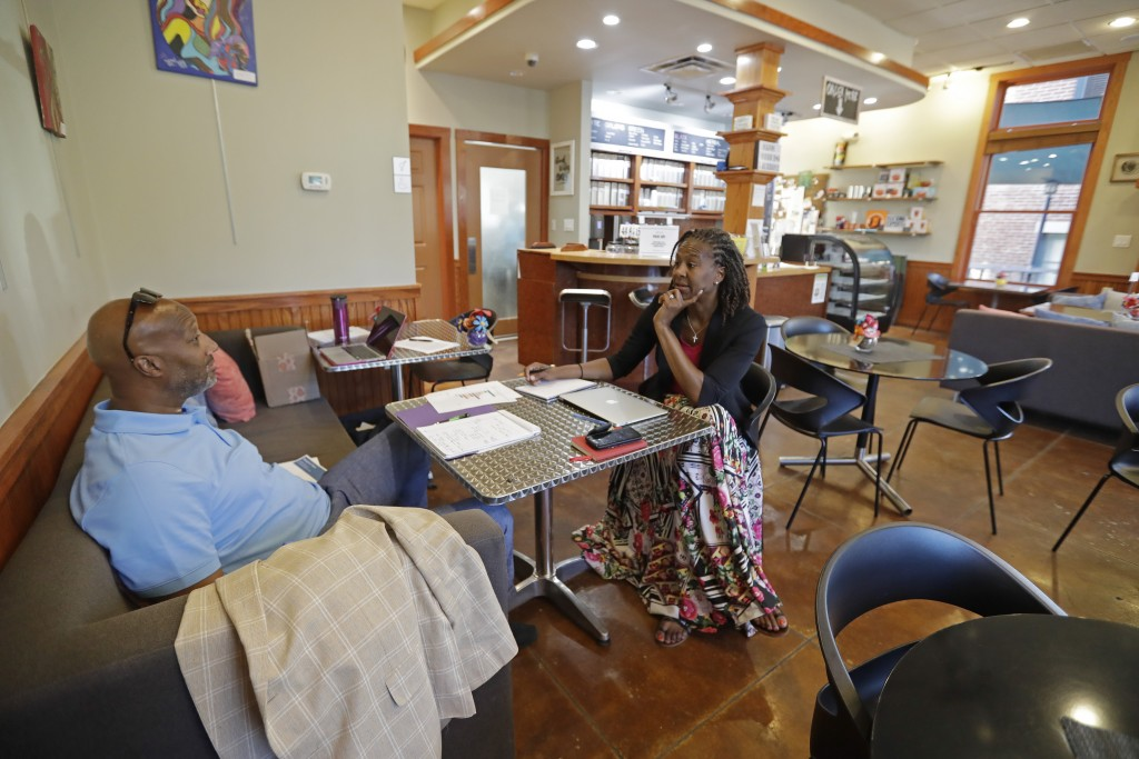 Tamika Catchings meets with Rod Haywood, senior lecturer at Indiana University's Kelley School of Business, at Tea's Me Cafe, Wednesday, June 26, 2019...