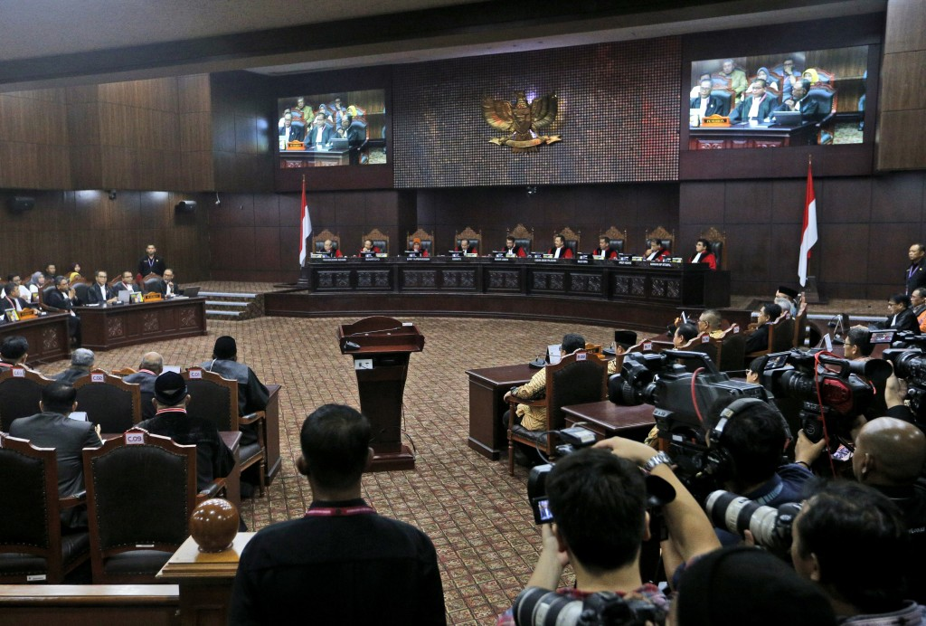 Judges preside over the final hearing on the court challenge to the results of April's presidential election at the Constitutional Court in Jakarta, I...