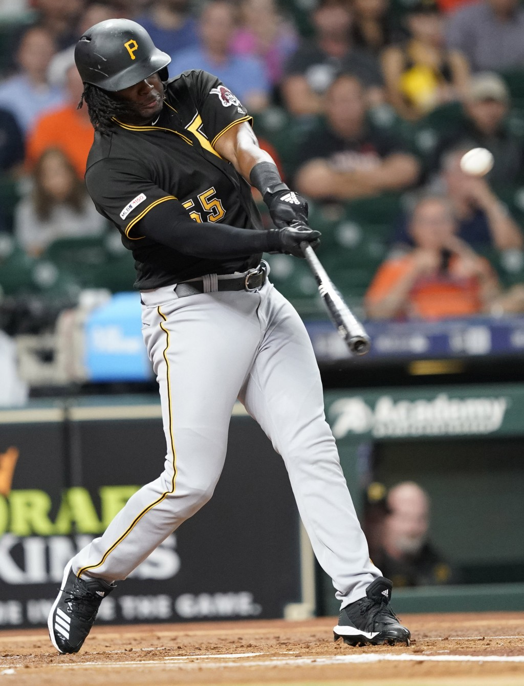 Pittsburgh Pirates' Josh Bell hits a two-run home run against the Houston Astros during the first inning of a baseball game Wednesday, June 26, 2019, ...