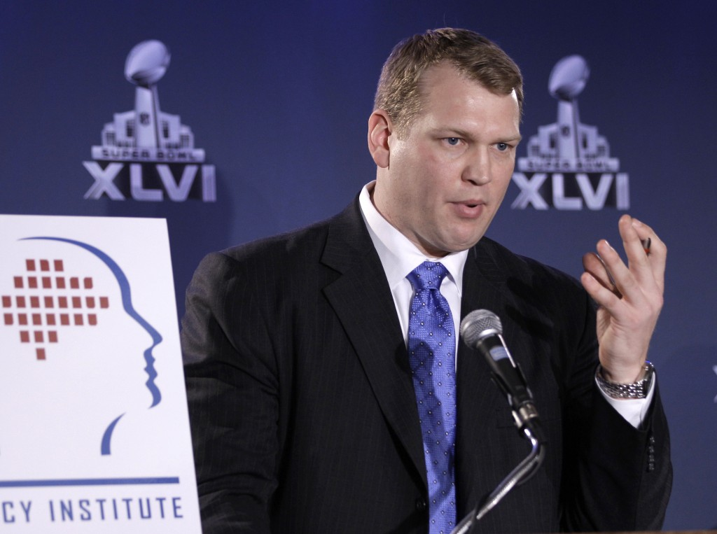 FILE - In this Feb. 3, 2012, file photo, Chris Nowinski, head of the Concussion Legacy Foundation in Boston, talks about a hit count proposal to drama...