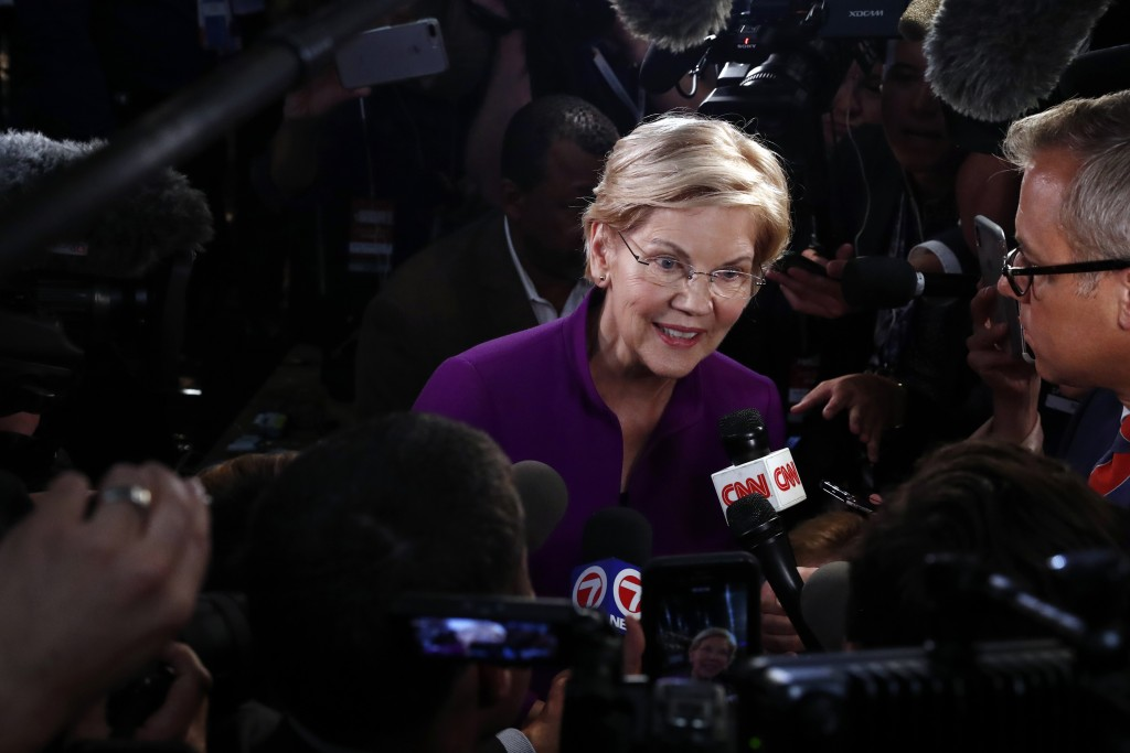 Democratic presidential candidate Sen. Elizabeth Warren, D-Mass., answers questions after a Democratic primary debate hosted by NBC News at the Adrien...