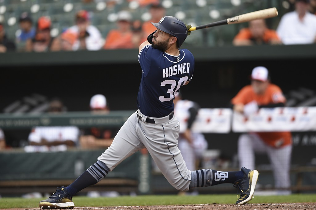 San Diego Padres' Eric Hosmer follows through on a two run home run against the Baltimore Orioles in the sixth inning of a baseball game Wednesday, Ju...