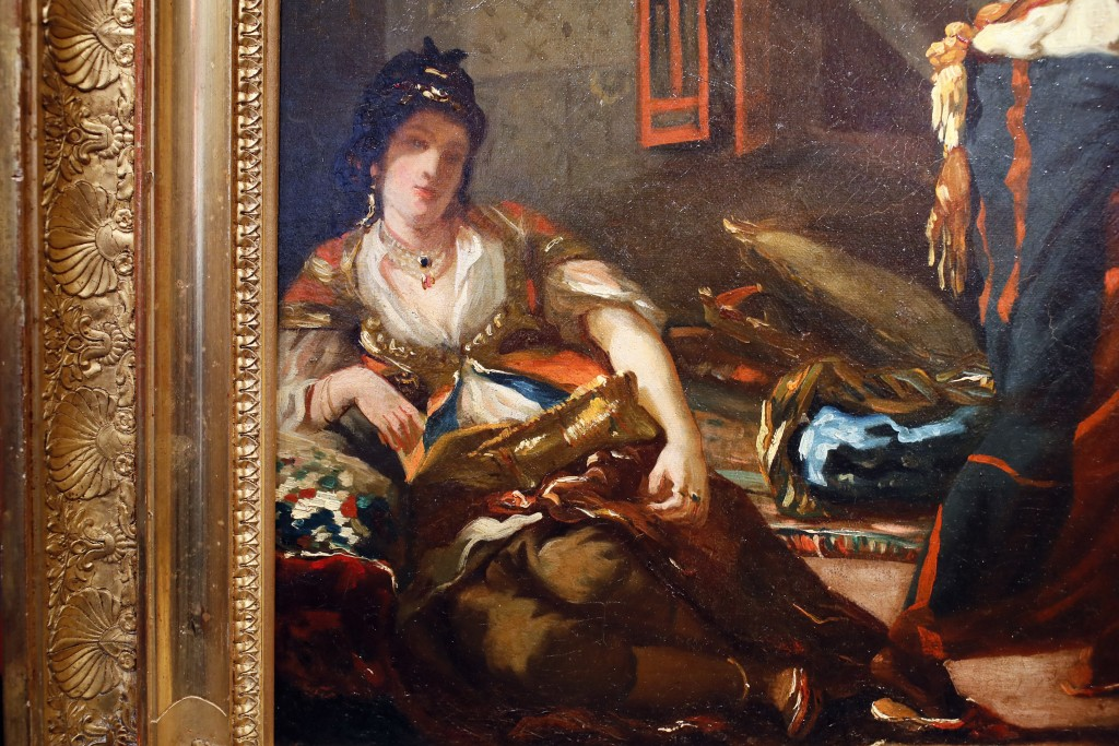 "This photo shows a detail of Eugene Delacroix's oil painting ""Women of Algiers in their Apartment"" at the Galerie Mendes in Paris, Friday, June 21, 20..."