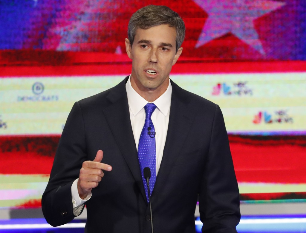 Democratic presidential candidate former Texas Rep. Beto O'Rourke gestures during a Democratic primary debate hosted by NBC News at the Adrienne Arsht...