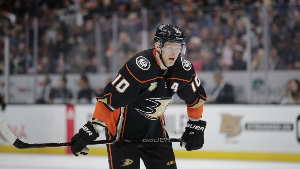 FILE - In this Thursday, March 7, 2019 file photo, Anaheim Ducks' Corey Perry stands on the ice during an NHL hockey game against the St. Louis Blues ...