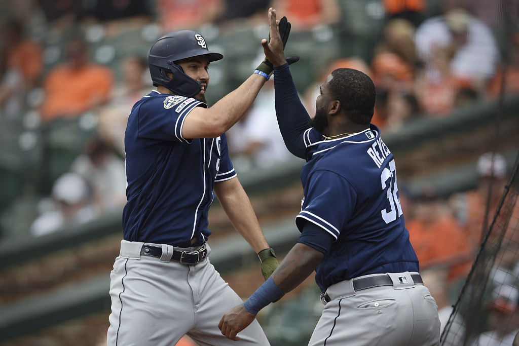 San Diego Padres' Eric Hosmer, left, is congratulated by Franmil Reyes after hitting a two run home run against the Baltimore Orioles in the sixth inn...
