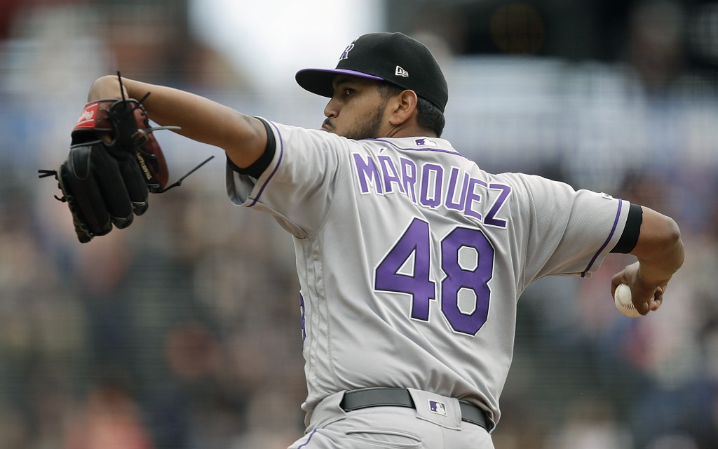 Colorado Rockies pitcher German Marquez works against the San Francisco Giants in the first inning of a baseball game Wednesday, June 26, 2019, in San...