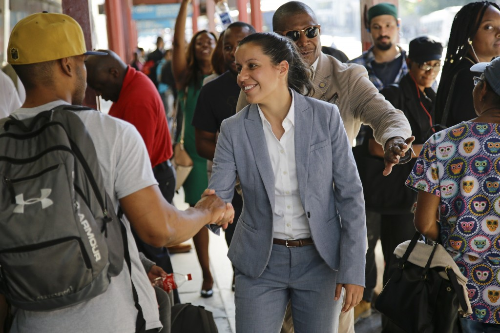 Queens district attorney candidate Tiffany Caban greets commuters Wednesday, June 26, 2019, in the Queens borough of New York. Election officials won'...