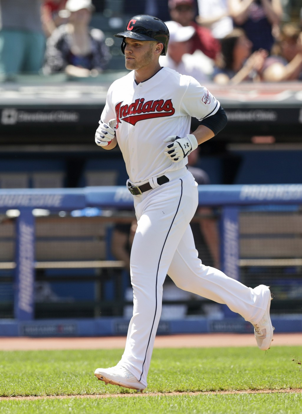 Cleveland Indians' Jake Bauers runs the bases after hitting a solo home run in the fourth inning in a baseball game against the Kansas City Royals, We...