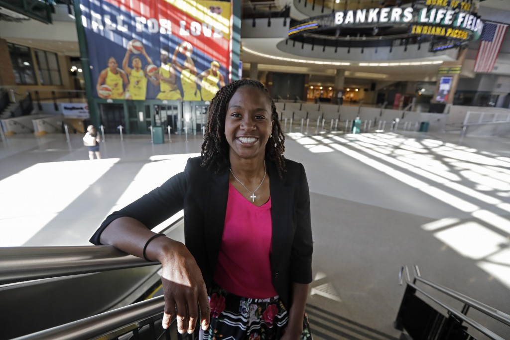 Tamika Catchings poses for a photo inside Banker's Life Fieldhouse, Wednesday, June 26, 2019, in Indianapolis. Nearly three years since Catchings play