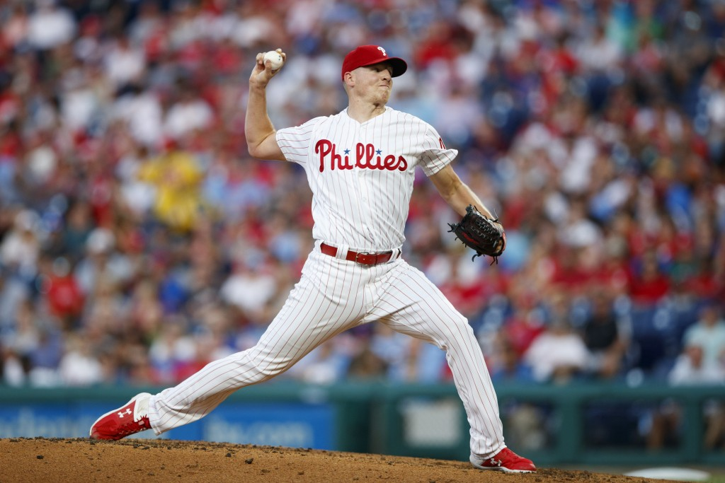 Philadelphia Phillies' Nick Pivetta pitches during the third inning of a baseball game against the New York Mets, Wednesday, June 26, 2019, in Philade...