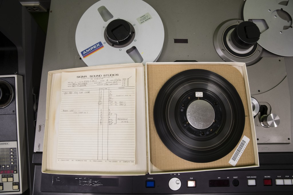 In this May 8, 2019 photo shown is a reel from from a Nat Turner Rebellion recording session at the Sigma Sound Studio, at Drexel University in Philad...