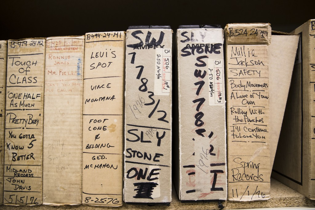 In this May 8, 2019 photo shown are reels from Sly Stone's recording sessions at the Sigma Sound Studio, at Drexel University in Philadelphia. The mus...