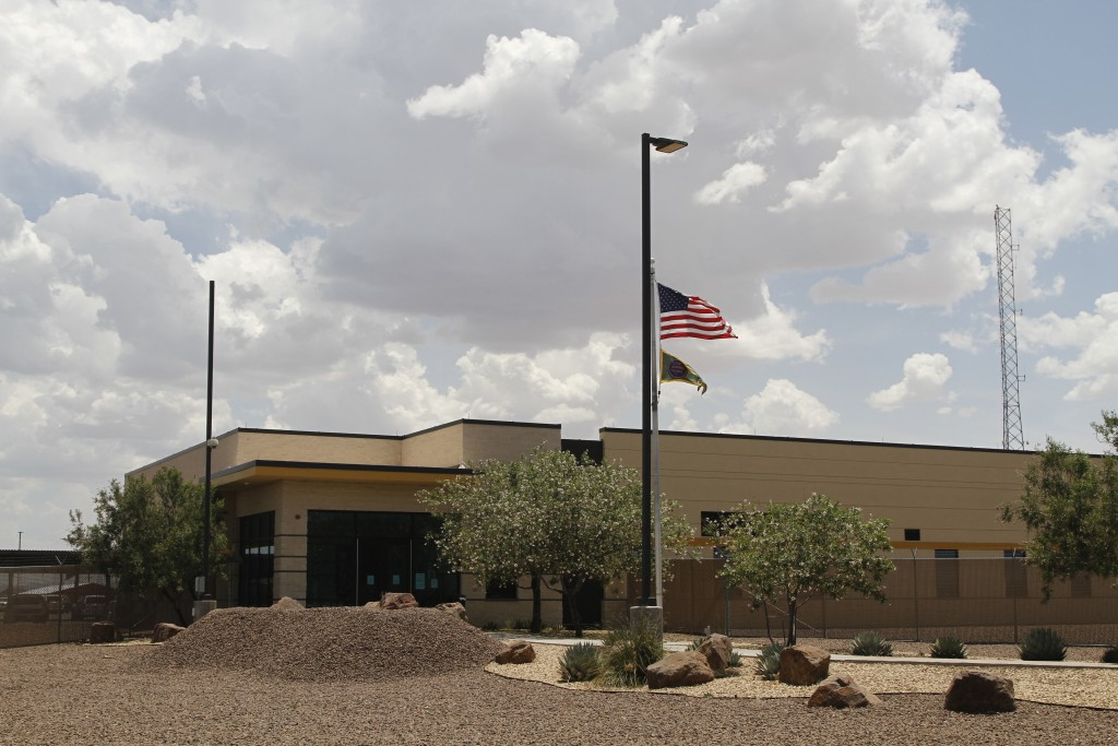 The entrance to the Border Patrol station in Clint, Texas, Wednesday, June 26, 2019. Migrant children being housed at the Border Patrol facility near ...