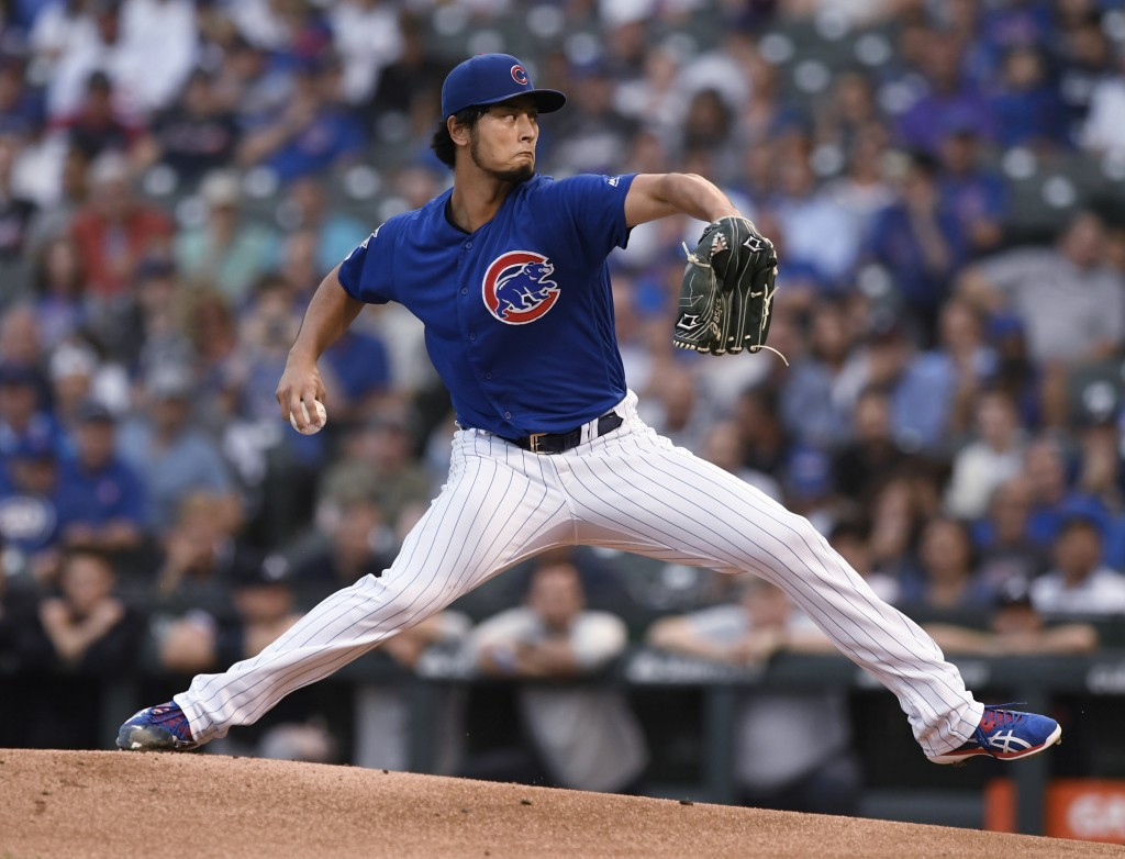 Chicago Cubs starter Yu Darvish delivers a pitch during the first inning of the team's baseball game against the Atlanta Braves on Wednesday, June 26,...