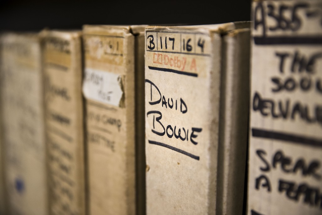 """In this May 8, 2019 photo show is a reel from David Bowie's recording sessions at the Sigma Sound Studio while getting together his 1974 """"Young Americ..."""