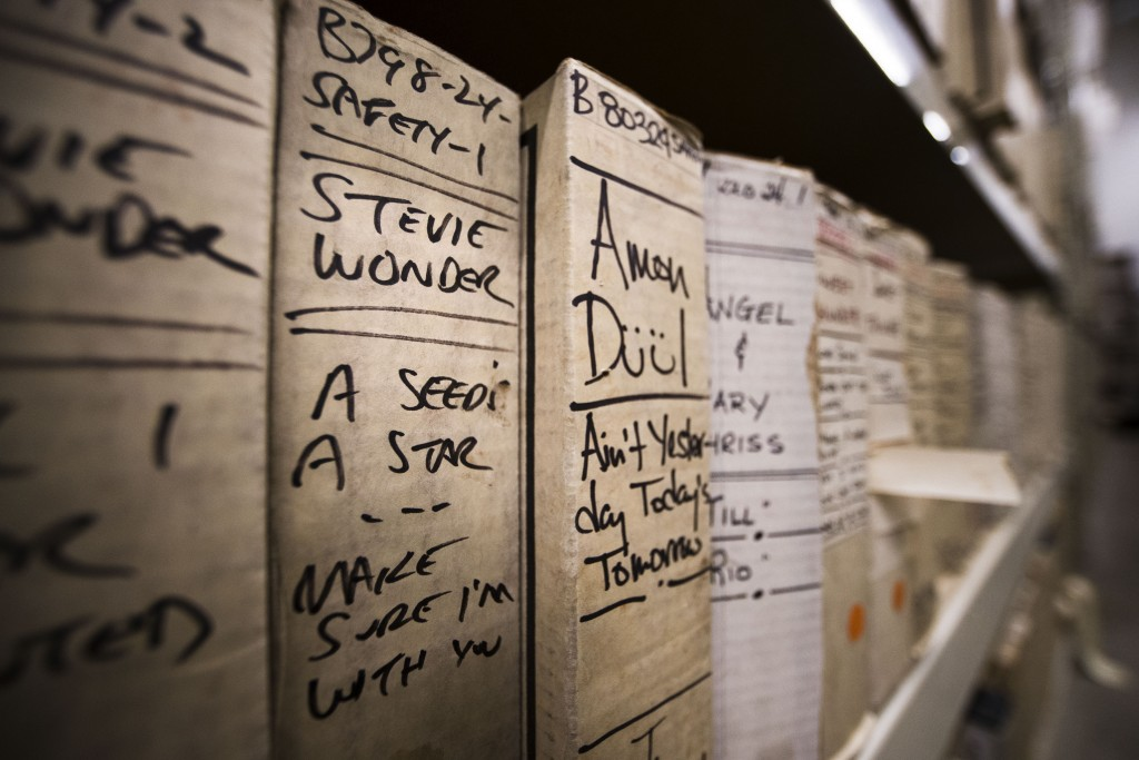 In this May 8, 2019 photo shown is a reel from Stevie Wonder's recording sessions at the Sigma Sound Studio, at Drexel University in Philadelphia. A c...
