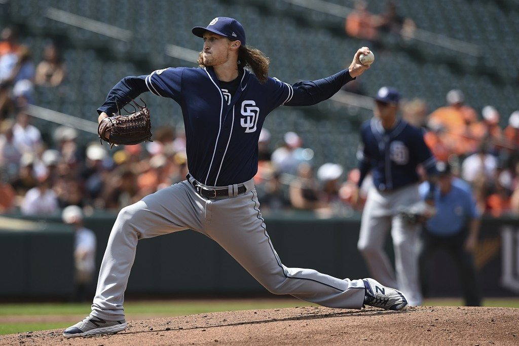 San Diego Padres pitcher Matt Strahm throws against the Baltimore Orioles in the first inning of a baseball game Wednesday, June 26, 2019, in Baltimor...