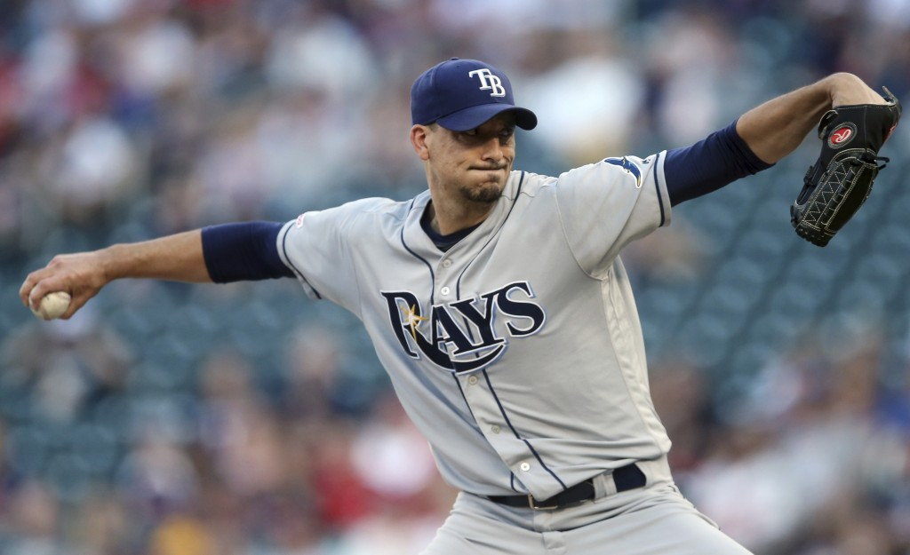 Tampa Bay Rays pitcher Charlie Morton throws to a Minnesota Twins during the first inning of a baseball game Wednesday, June 26, 2019, in Minneapolis....