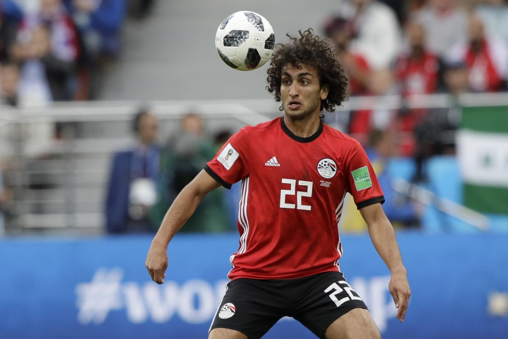 FILE - In this Friday, June 15, 2018 file photo, Egypt's Amr Warda watches the ball during their group A match against Uruguay at the 2018 soccer Worl...