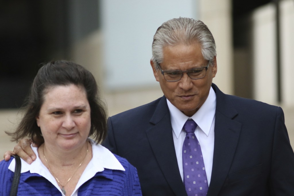 FILE - In this June 25, 2019 file photo, former Honolulu police chief Louis Kealoha, right, and his wife former deputy prosecutor Katherine Kealoha, w...