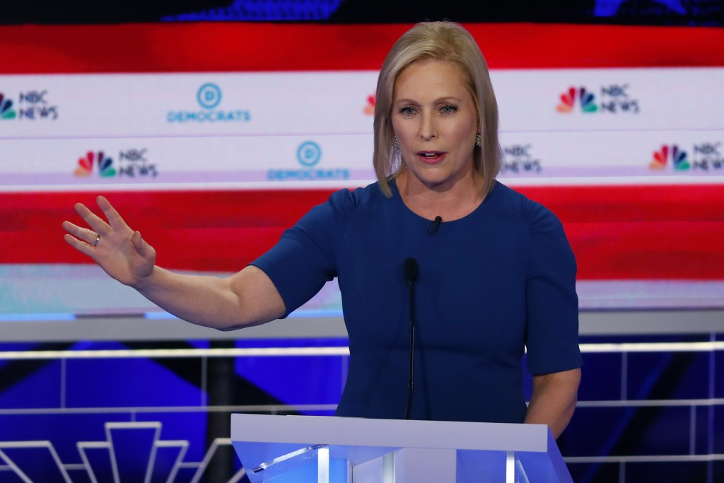 CORRECTS SPELLING OF FIRST NAME TO KIRSTEN, INSTEAD OF KRISTEN - Democratic presidential candidate Sen. Kirsten Gillibrand, D-N,Y., speaks during the ...