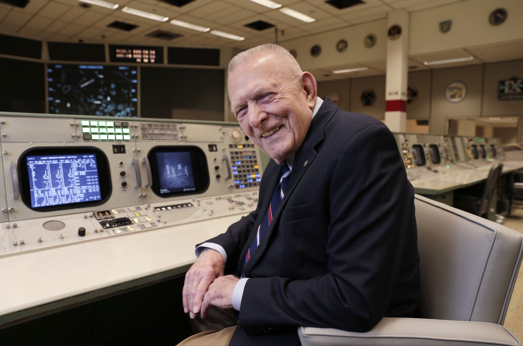 Gene Kranz, aerospace engineer, fighter pilot, an Apollo-era flight director and later director of NASA flight operations, sits at the console where h...