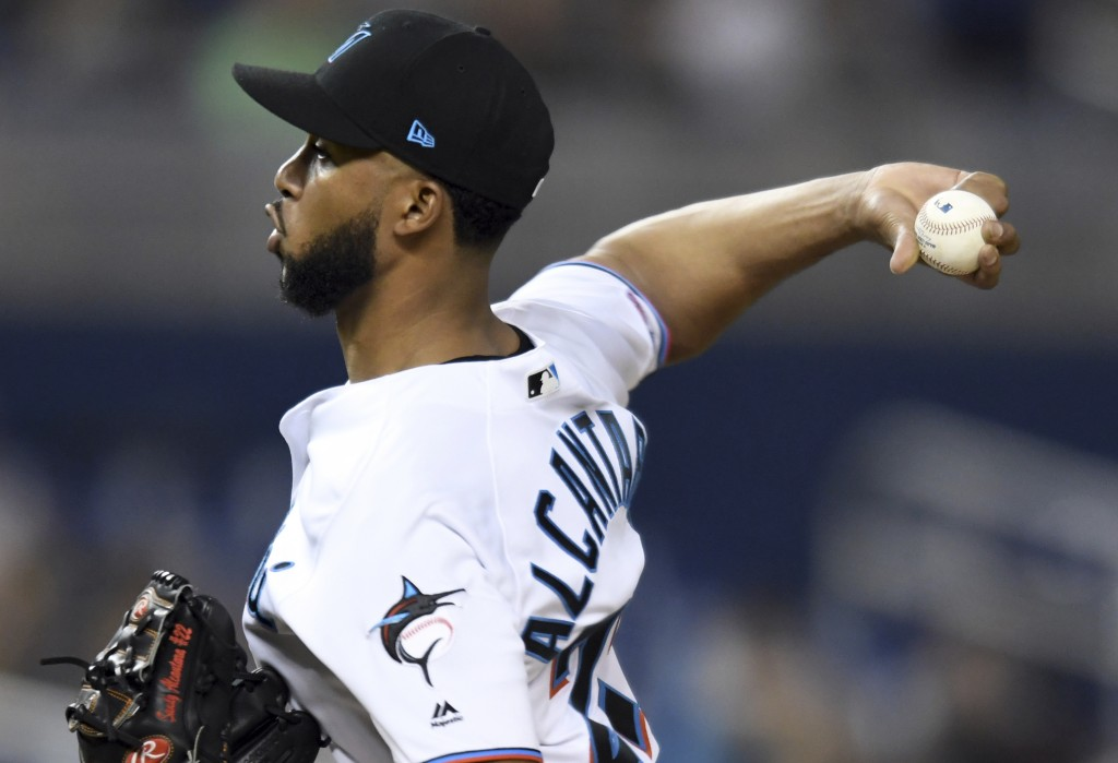 Miami Marlins' Sandy Alcantara pitches against the Washington Nationals during the fourth inning of a baseball game Thursday, June 27, 2019, in Miami....