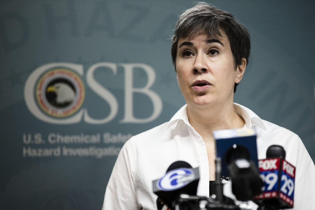 Kristen Kulinowski, interim executive director of the U.S. Chemical Safety Board, speaks to the media in the aftermath of a fire last week at the Phil...