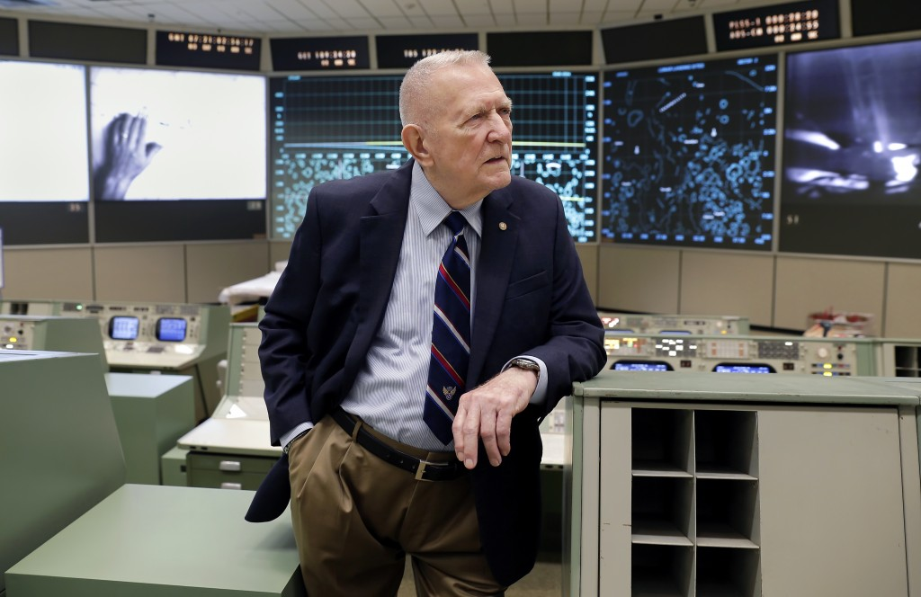 Gene Kranz, aerospace engineer, fighter pilot, an Apollo-era flight director and later director of NASA flight operations leans on a console near the ...