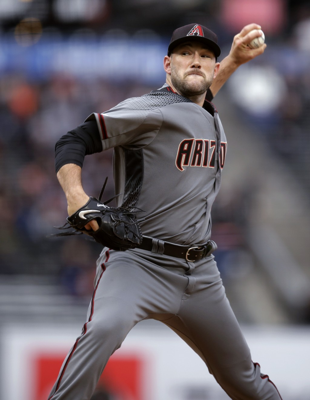 Arizona Diamondbacks pitcher Alex Young works against the San Francisco Giants in the first inning of a baseball game Thursday, June 27, 2019, in San ...