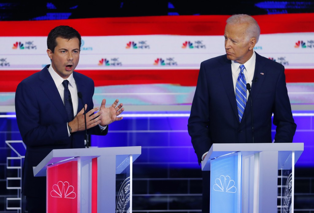 Democratic presidential candidate South Bend Mayor Pete Buttigieg speaks during the Democratic primary debate hosted by NBC News at the Adrienne Arsht...