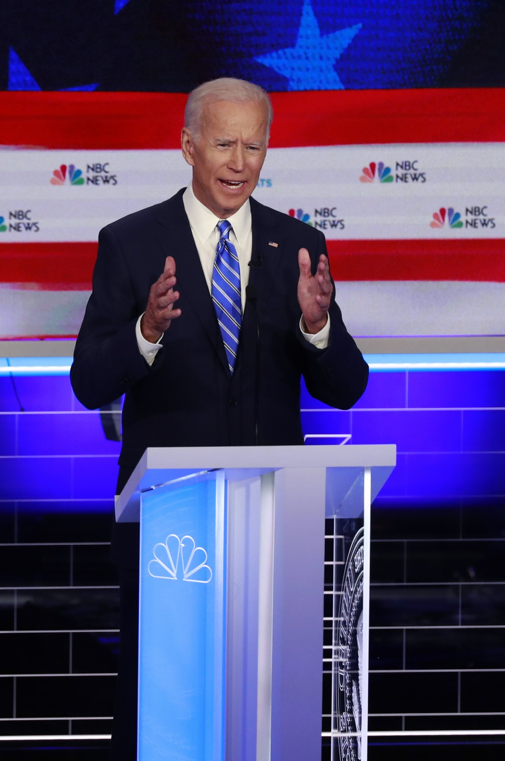 Democratic presidential candidate former vice president Joe Biden, speaks during the Democratic primary debate hosted by NBC News at the Adrienne Arsh...
