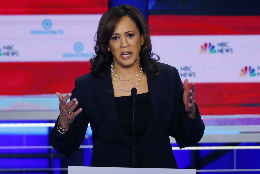 Democratic presidential candidate Sen. Kamala Harris, D-Calif., speaks during the Democratic primary debate hosted by NBC News at the Adrienne Arsht C...