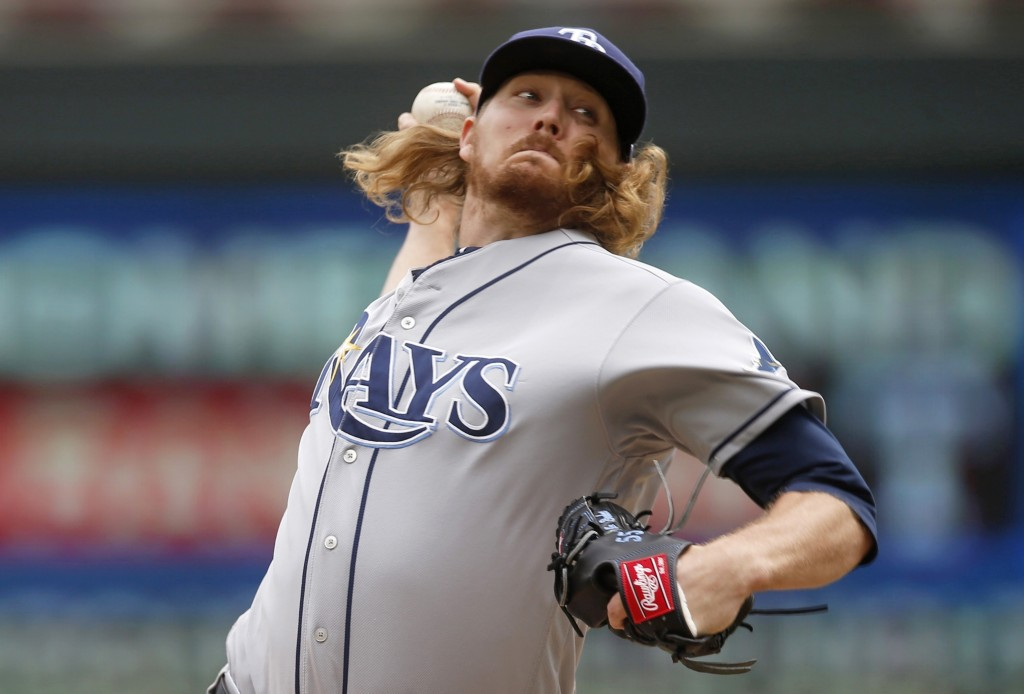 Tampa Bay Rays pitcher Ryne Stanek throws against the Minnesota Twins in the first inning of a baseball game Thursday, June 27, 2019, in Minneapolis. ...