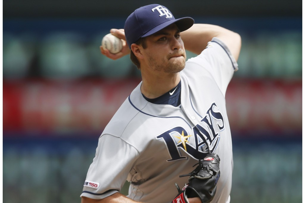 Tampa Bay Rays pitcher Jalen Beeks throws in relief against the Minnesota Twins in the third inning of a baseball game Thursday, June 27, 2019, in Min...