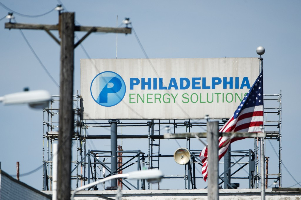 A sign for Philadelphia Energy Solutions stands at the refining complex in Philadelphia, Thursday, June 27, 2019. The largest oil refinery on the East...